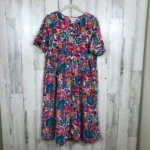 Apostrophe floral cotton dress comfort pockets M